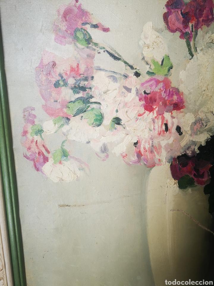Arte: Oleo sobre lienzo, florero, escuela francesa, firmado, Medidas totales 66x77cm - Foto 4 - 167599905