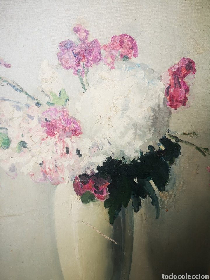 Arte: Oleo sobre lienzo, florero, escuela francesa, firmado, Medidas totales 66x77cm - Foto 6 - 167599905