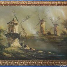 Arte: ÓLEO SOBRE LIENZO MOLINOS DE LA MANCHA. Lote 167642296