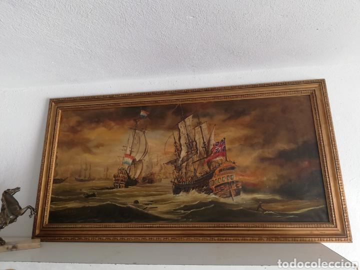 CUADRO ANTIGUO PINTURA A MANO FIRMADO DE LA GUERRA ANGLO-NEERLANDESA DE DE LOS SIGLOS XVII YXVIII (Arte - Pintura - Pintura al Óleo Antigua sin fecha definida)