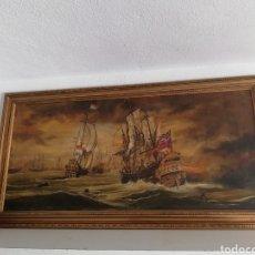 Arte: CUADRO ANTIGUO PINTURA A MANO FIRMADO DE LA GUERRA ANGLO-NEERLANDESA DE DE LOS SIGLOS XVII YXVIII. Lote 167587830