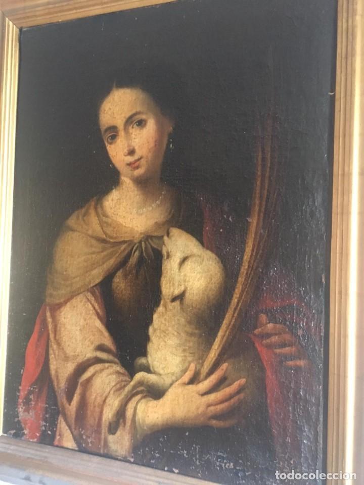 ESCUELA BARROCA SEVILLANA DE BARTOLOMÉ ESTEBAN MURILLO: SANTA INÉS (Arte - Pintura - Pintura al Óleo Antigua siglo XVII)
