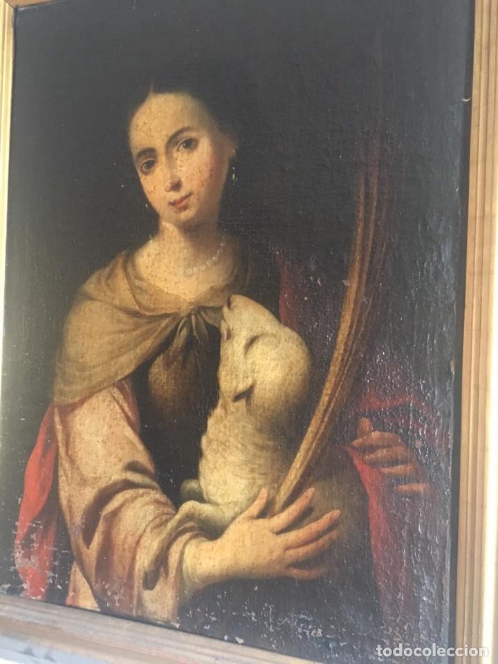 Arte: ESCUELA BARROCA SEVILLANA DE BARTOLOMÉ ESTEBAN MURILLO: SANTA INÉS - Foto 2 - 167678504