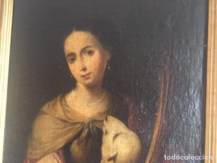 Arte: ESCUELA BARROCA SEVILLANA DE BARTOLOMÉ ESTEBAN MURILLO: SANTA INÉS - Foto 4 - 167678504