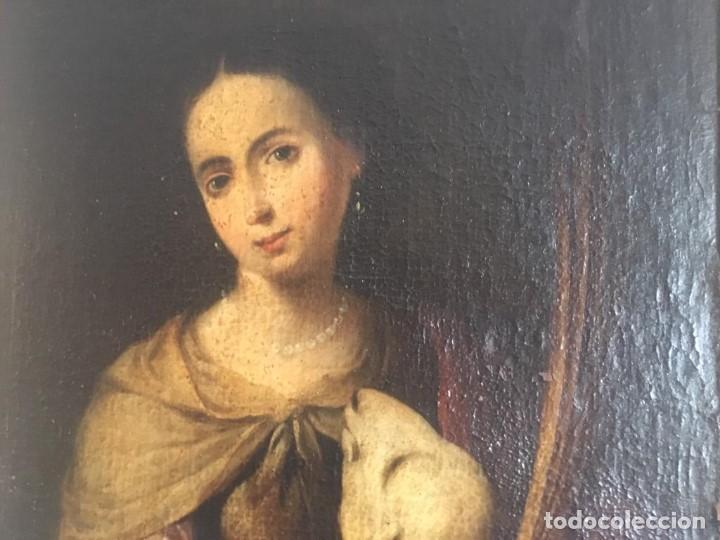 Arte: ESCUELA BARROCA SEVILLANA DE BARTOLOMÉ ESTEBAN MURILLO: SANTA INÉS - Foto 6 - 167678504