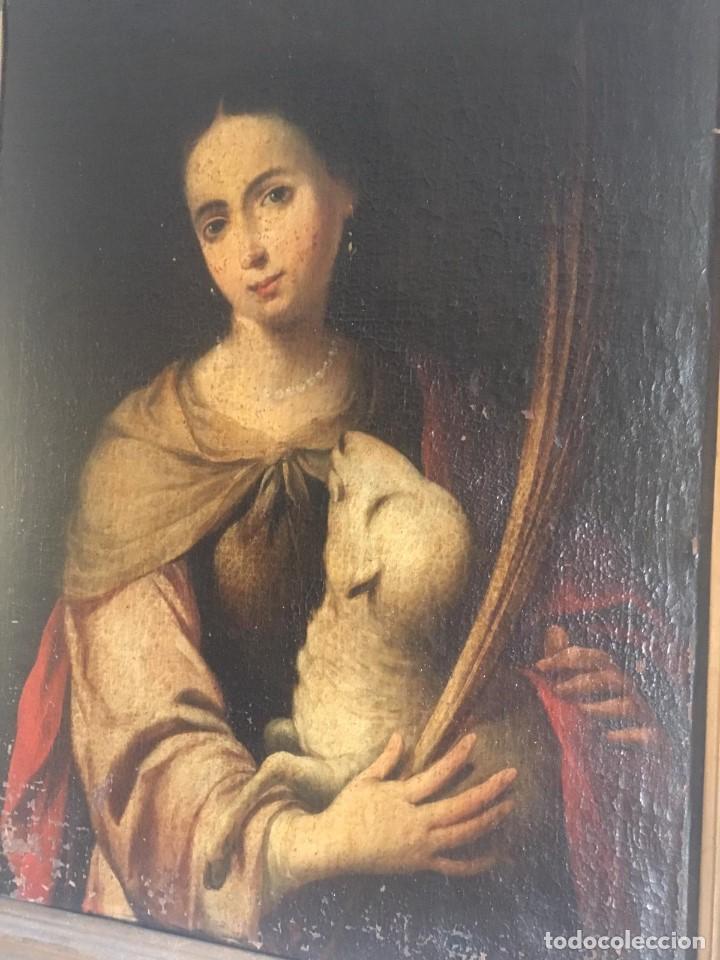 Arte: ESCUELA BARROCA SEVILLANA DE BARTOLOMÉ ESTEBAN MURILLO: SANTA INÉS - Foto 9 - 167678504