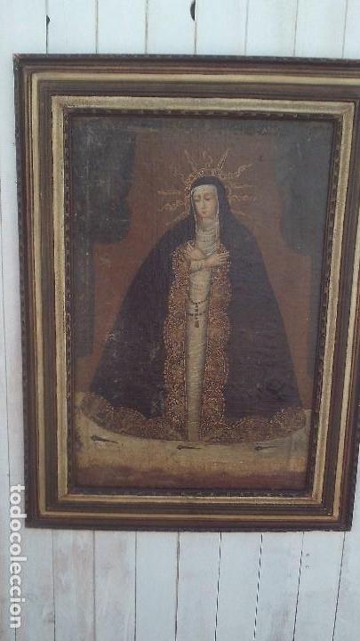 Arte: pintura al oleo colonial siglo xviii,de epoca,oleo sobre lienzo,monja ,santa - Foto 2 - 167733568