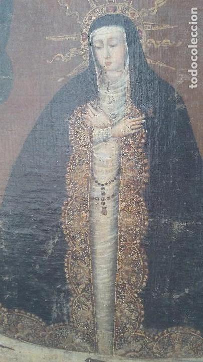 Arte: pintura al oleo colonial siglo xviii,de epoca,oleo sobre lienzo,monja ,santa - Foto 4 - 167733568