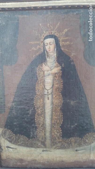 Arte: pintura al oleo colonial siglo xviii,de epoca,oleo sobre lienzo,monja ,santa - Foto 7 - 167733568