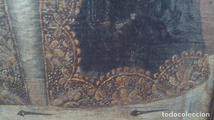 Arte: pintura al oleo colonial siglo xviii,de epoca,oleo sobre lienzo,monja ,santa - Foto 8 - 167733568