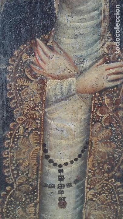 Arte: pintura al oleo colonial siglo xviii,de epoca,oleo sobre lienzo,monja ,santa - Foto 9 - 167733568