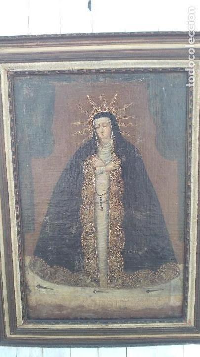 Arte: pintura al oleo colonial siglo xviii,de epoca,oleo sobre lienzo,monja ,santa - Foto 10 - 167733568