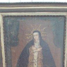 Arte: PINTURA AL OLEO COLONIAL SIGLO XVIII,DE EPOCA,OLEO SOBRE LIENZO,MONJA ,SANTA. Lote 167733568