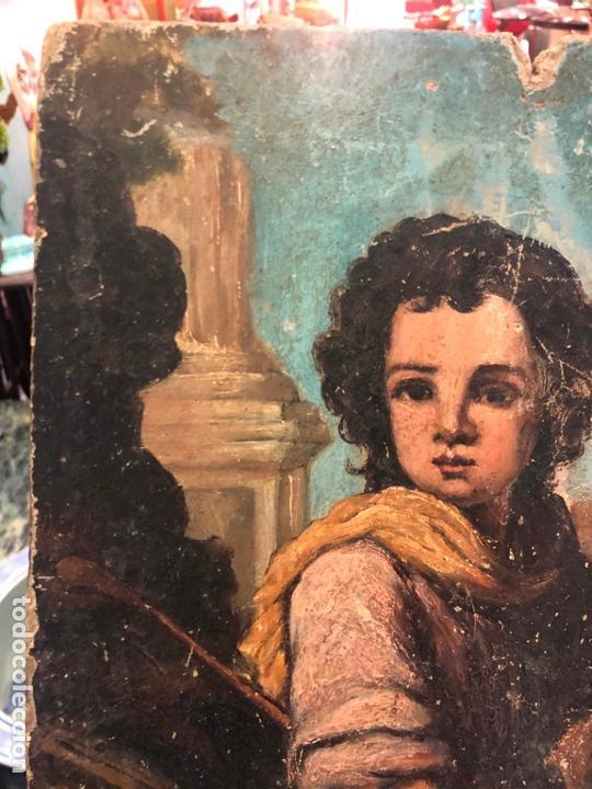 Arte: ANTIGUO OLEO SOBRE TABLA - NIÑO JESUS SAN JUANITO - MEDIDA 39X31 CM - RELIGIOSO - Foto 2 - 167834480