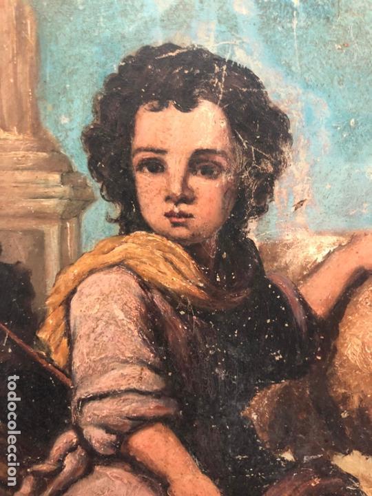 Arte: ANTIGUO OLEO SOBRE TABLA - NIÑO JESUS SAN JUANITO - MEDIDA 39X31 CM - RELIGIOSO - Foto 4 - 167834480