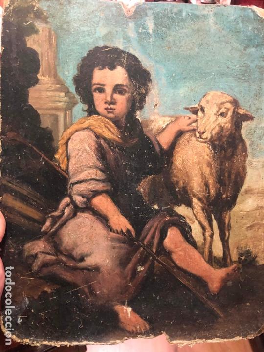 Arte: ANTIGUO OLEO SOBRE TABLA - NIÑO JESUS SAN JUANITO - MEDIDA 39X31 CM - RELIGIOSO - Foto 8 - 167834480