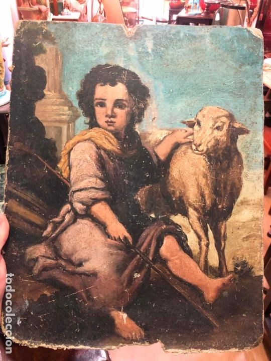 ANTIGUO OLEO SOBRE TABLA - NIÑO JESUS SAN JUANITO - MEDIDA 39X31 CM - RELIGIOSO (Arte - Pintura - Pintura al Óleo Antigua sin fecha definida)