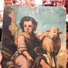 Arte: ANTIGUO OLEO SOBRE TABLA - NIÑO JESUS SAN JUANITO - MEDIDA 39X31 CM - RELIGIOSO. Lote 167834480