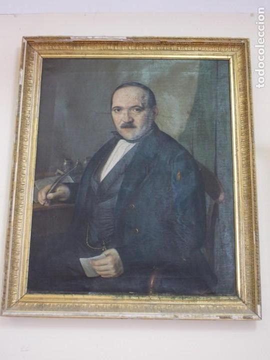 MAGNIFICO RETRATO AL OLEO ANONIMO S XIX (Arte - Pintura - Pintura al Óleo Moderna siglo XIX)