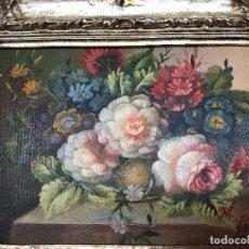 Arte: L028 CUADRO PLATEADO TEMA FLORES. Lote 167979805