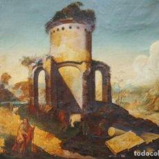 Arte: PAISAJE DE RUINAS CON ESCENAS. ITALIA SIGLO XVIII. O/L. MEDIDAS DE 102 X 82 CM.. Lote 167999884