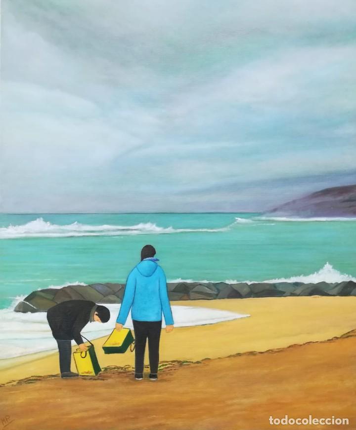 PLATJA DEL MASNOU - 2018 - MATEU PUJADAS - 46 X 38 CM (Arte - Pintura - Pintura al Óleo Contemporánea )