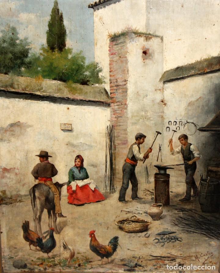 FIRMADO M.CASTRO. OLEO SOBRE TABLA FECHADO EN SEVILLA. FINALES SIGLO XIX. ESCENA COSTUMBRISTA (Arte - Pintura - Pintura al Óleo Contemporánea )