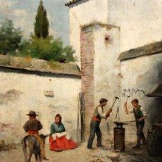 Arte: FIRMADO M.CASTRO. OLEO SOBRE TABLA FECHADO EN SEVILLA. FINALES SIGLO XIX. ESCENA COSTUMBRISTA. Lote 168031520