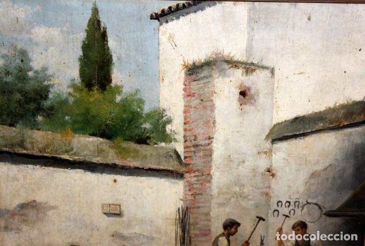 Arte: FIRMADO M.CASTRO. OLEO SOBRE TABLA FECHADO EN SEVILLA. FINALES SIGLO XIX. ESCENA COSTUMBRISTA - Foto 3 - 168031520