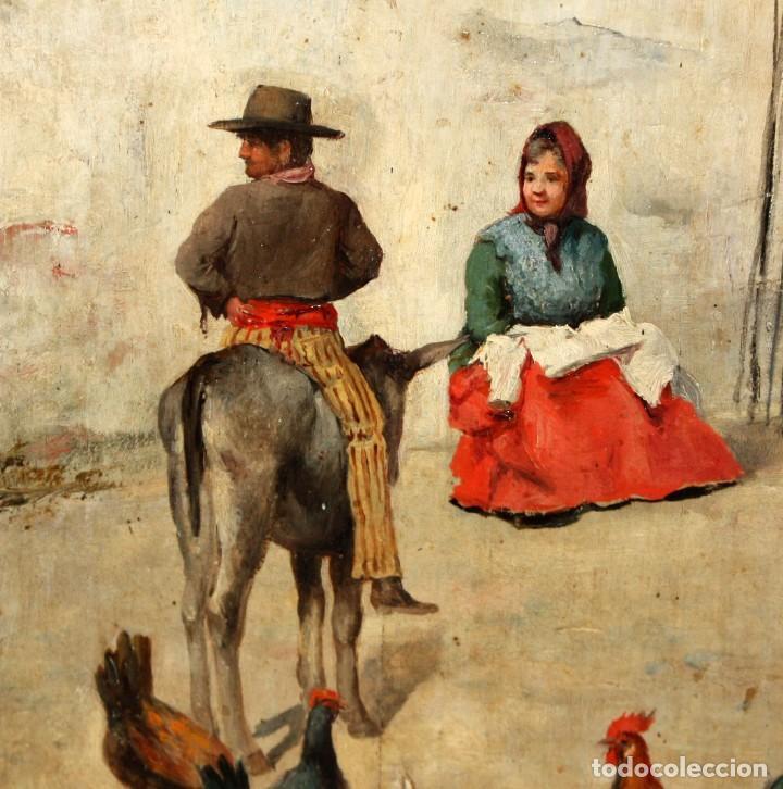 Arte: FIRMADO M.CASTRO. OLEO SOBRE TABLA FECHADO EN SEVILLA. FINALES SIGLO XIX. ESCENA COSTUMBRISTA - Foto 4 - 168031520
