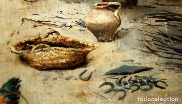 Arte: FIRMADO M.CASTRO. OLEO SOBRE TABLA FECHADO EN SEVILLA. FINALES SIGLO XIX. ESCENA COSTUMBRISTA - Foto 7 - 168031520