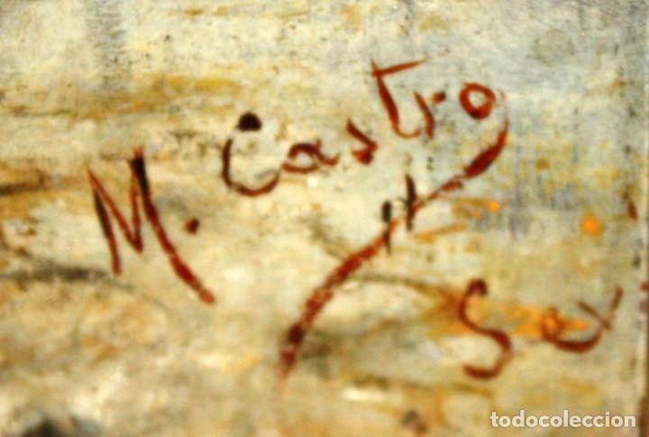 Arte: FIRMADO M.CASTRO. OLEO SOBRE TABLA FECHADO EN SEVILLA. FINALES SIGLO XIX. ESCENA COSTUMBRISTA - Foto 8 - 168031520