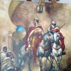 Arte: JOLOGA. JINETE ARABE I. LIENZO 73X65. ORIENTALISTA. MARCO GRATIS.. Lote 129484035