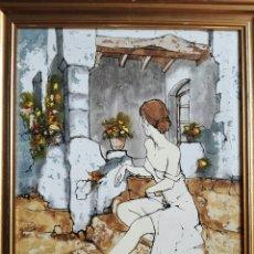 Arte: ORIGINAL PINTURA EN OLEO SOBRE LIENZO. MUJER SENTADA EN EL PATIO DE CASA. BERNARD DUFOUR (1922-2016). Lote 168103860