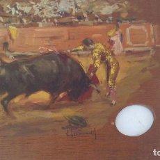 Arte: PINTURA AL OLEO TEMA TAURINO FIRMADA,SOBRE PALETA. Lote 168108004