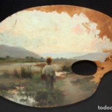 Arte: MIQUEL CARBONELL SELVA (MOLINS DE REI, 1855 - BARCELONA, 1896) PALETA PINTADA AL OLEO. Lote 168121732