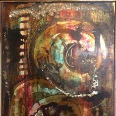 Arte: CUADRO LOLA MASSIEU 50 X 70 CM. AÑO 80-81. MIXTA CON ORO SOBRE TABLA.. Lote 167008125