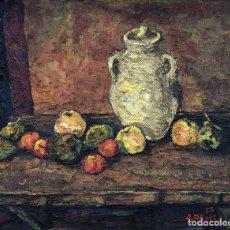 Arte: JOAN ABELLÓ PRAT (1922-2008) - BODEGÓN DE FRUTAS Y JARRO - ÓLEO LIENZO. Lote 168414708