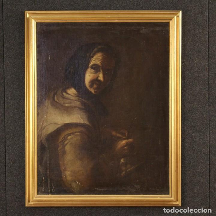 ANTIGUA PINTURA ITALIANA RETRATO DE UNA CAMPESINA DEL SIGLO XVIII (Arte - Pintura - Pintura al Óleo Antigua siglo XVIII)