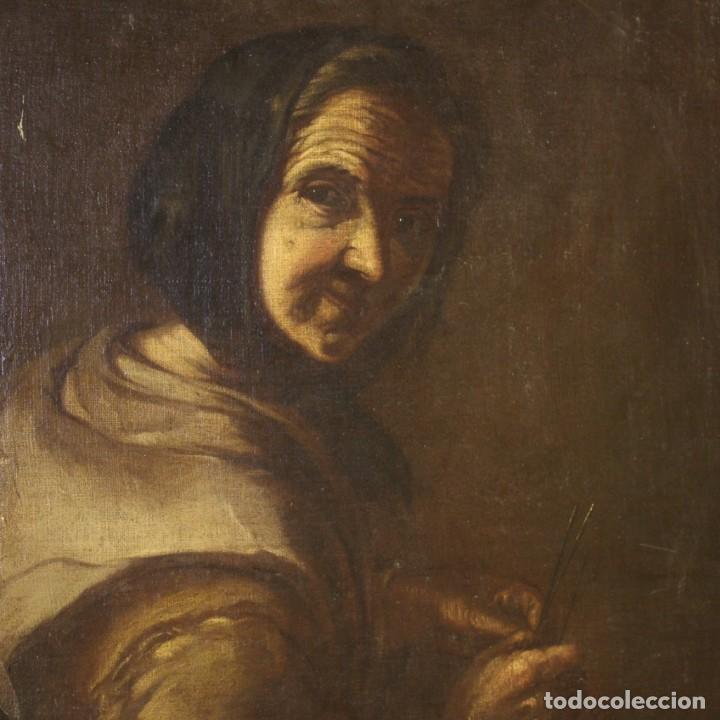 Arte: Antigua pintura italiana retrato de una campesina del siglo XVIII - Foto 2 - 168461324