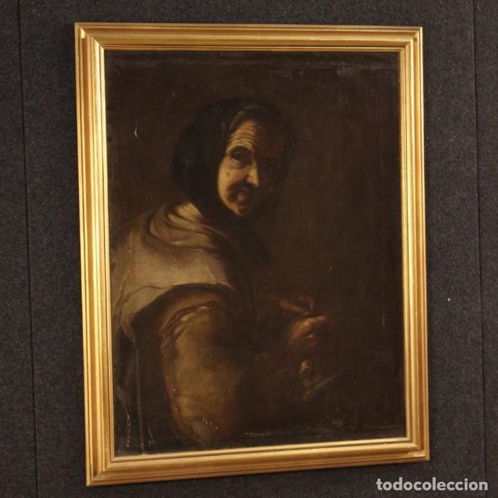 Arte: Antigua pintura italiana retrato de una campesina del siglo XVIII - Foto 6 - 168461324