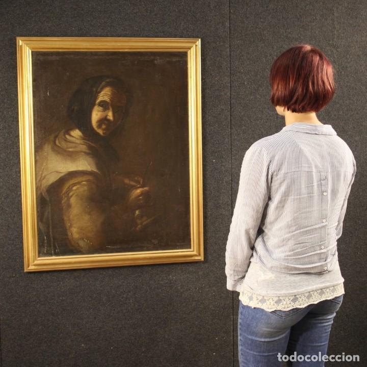 Arte: Antigua pintura italiana retrato de una campesina del siglo XVIII - Foto 12 - 168461324