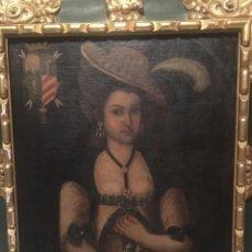 Arte: ESCUELA HISPANO-COLONIAL SIGLO XVII-XVIII. RETRATO DE DAMA CON SOMBRERO Y ESCUDO HERÁLDICO. Lote 168661744