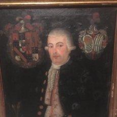 Arte: ESCUELA HISPANO-COLONIAL, SIGLO XVIII: RETRATO DE CABALLERO CON ESCUDOS HERÁLDICOS. Lote 168662248