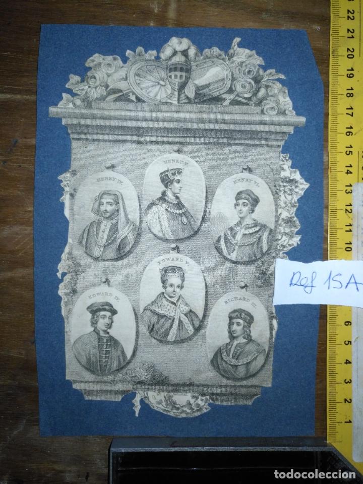 Arte: circa año 1812 - antiguo grabado original - henry iv , v , vi edward iv , v y richard iii - Foto 7 - 168752212