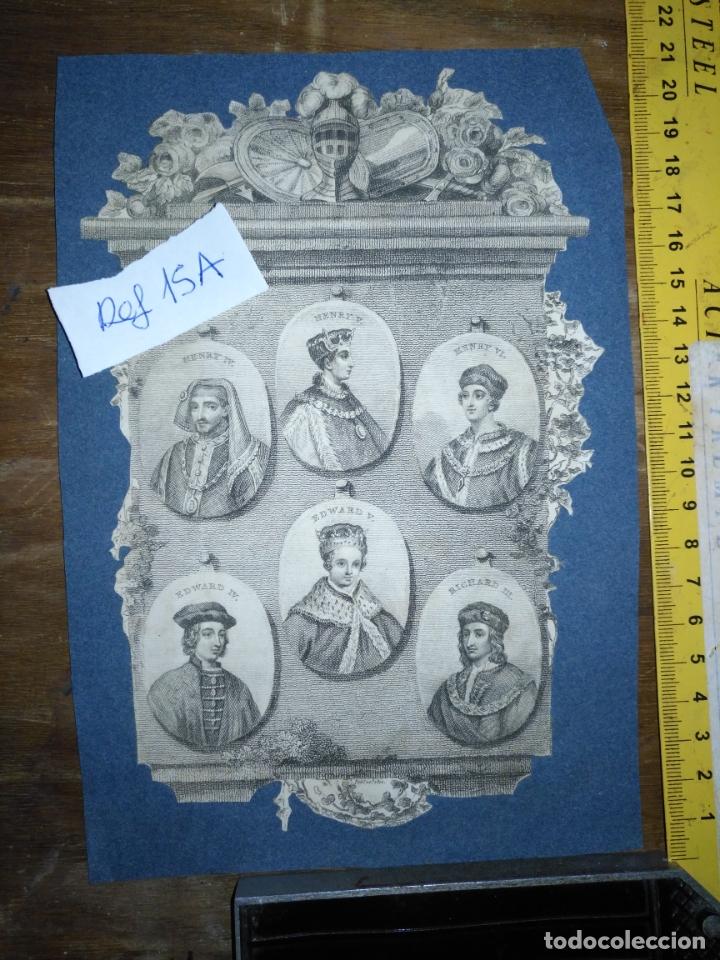 CIRCA AÑO 1812 - ANTIGUO GRABADO ORIGINAL - HENRY IV , V , VI EDWARD IV , V Y RICHARD III (Arte - Pintura - Pintura al Óleo Antigua siglo XVIII)