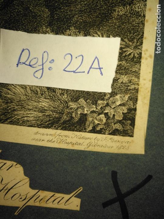 Arte: circa año 1820 - antiguo grabado original - vieu un gibraltar taken near the naval hospital - Foto 2 - 168753052