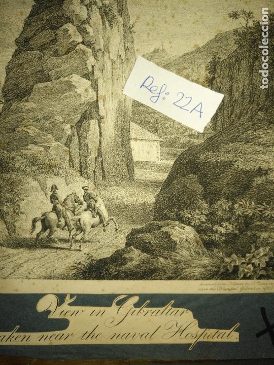 Arte: circa año 1820 - antiguo grabado original - vieu un gibraltar taken near the naval hospital - Foto 3 - 168753052