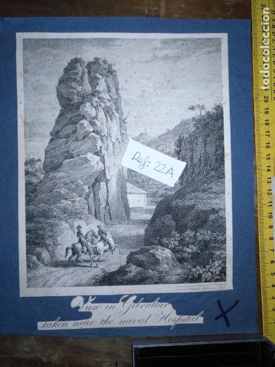 CIRCA AÑO 1820 - ANTIGUO GRABADO ORIGINAL - VIEU UN GIBRALTAR TAKEN NEAR THE NAVAL HOSPITAL (Arte - Pintura - Pintura al Óleo Antigua siglo XVIII)