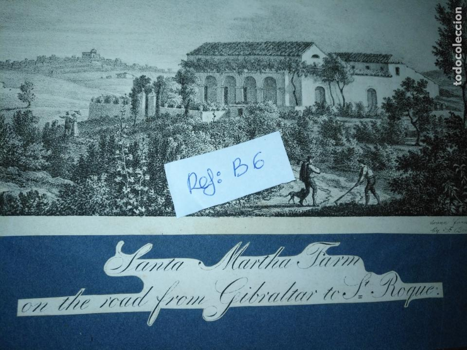 Arte: antiguo grabado original circa 1826 santa martha farm on the road from gibraltar to san roque - Foto 4 - 168754024